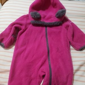 Columbia snow suite thin pink and gray